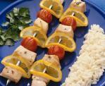 Brochettes de saumon marine