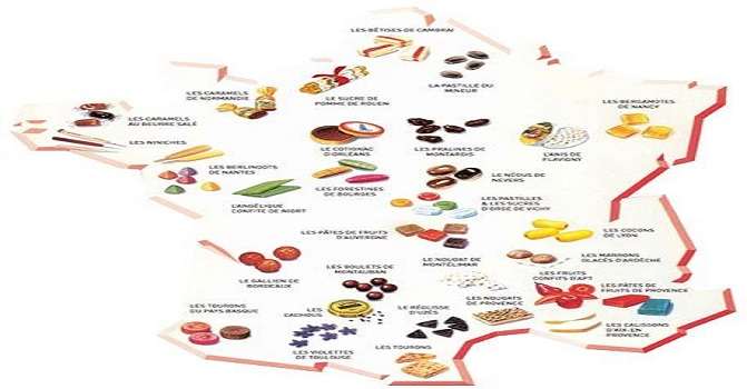 Carte de france des gourmandises